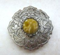 Vintage Floral Design Faux Agate Brooch By Hollywood.